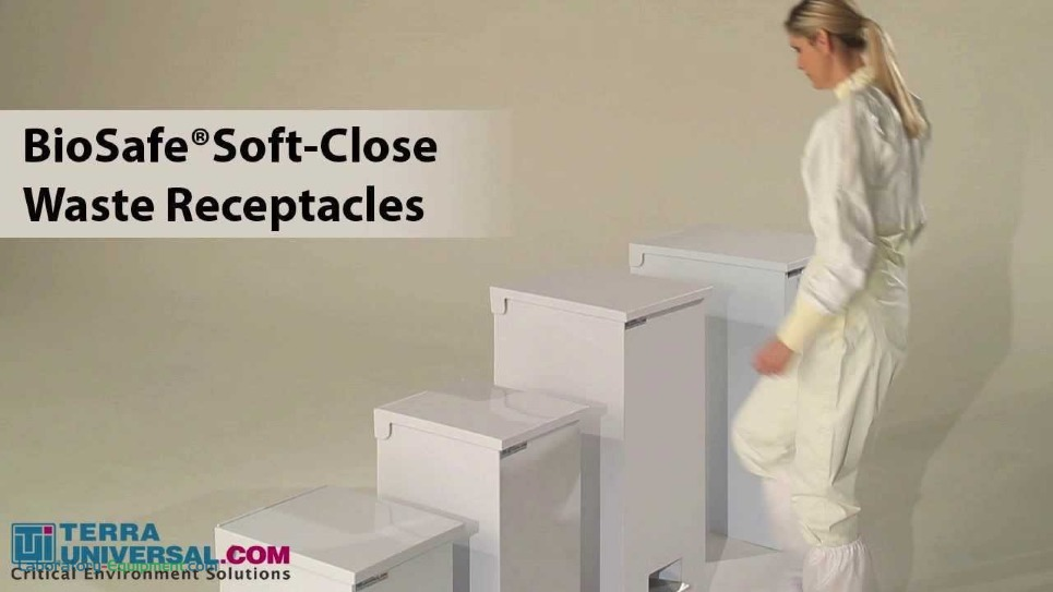 short video demonstration of the soft-close mechanism on the BioSafe Cleanroom Waste Receptacle