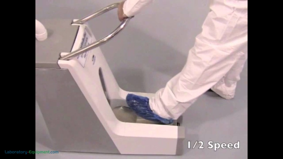 Automatic shoe cover remover shown in short video