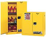 Chemical Storage; Floor Cabinet, Flammable Liquid, Bi-Fold Self Close Door, Sure-Grip Ex, 45 gal, Double-Walled Steel, 43