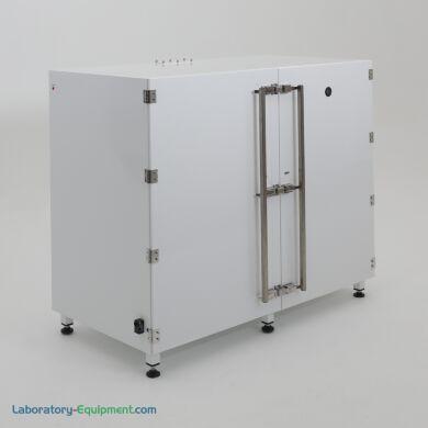 Drum storage desiccator cabinet in PCS with nylon leveling feet, elastomer gasket doors, nitrogen inlet port, 52