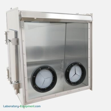 Stainless Steel Series 600 Full-View Glove Box, shown with optional side door and iris adapter | 9670-01B displayed