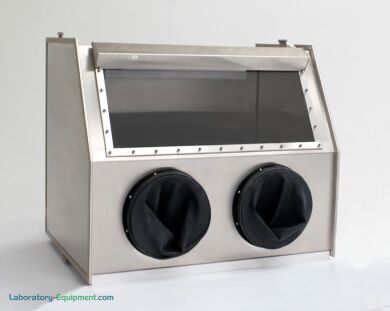 Stainless Steel Glove Box maintains low-humidity conditions to protect sensitive parts (shown with optional gloves) | 1694-01C displayed