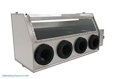 Stainless Steel 4-Port Series 300 Glove Box Isolator includes a front tempered glass window and externally mounted light (shown with optional gloves and air loc | 1694-02C displayed