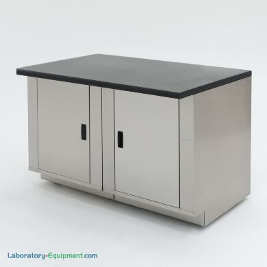 """48"""" wide stainless steel base cabinet with epoxy table top resists common organic compounds, acids, and solvents; ideal for biochemistry labs 
