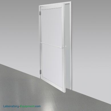 """Double swing pre-hung door with powder-coated aluminum frame and polypropylene window for cleanrooms, 72""""W x 81""""H, uninstalled 