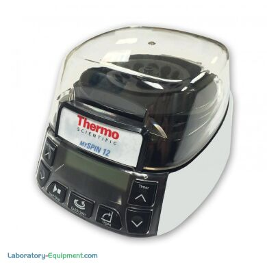 Compact and versatile mySPIN 12 mini centrifuge from Thermo Fisher has safety options and tool-free rotor exchange | 3615-82 displayed
