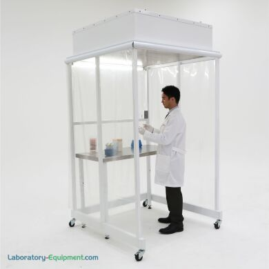 The Portable CleanBooth™ wheels into position above a workbench or equipment to provide an ISO 5-compliant flow of HEPA-filtered air (flexible side panels and f   1870-03A displayed