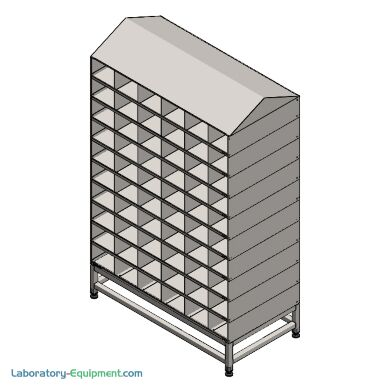 Double sided cleanroom bootie rack; 304 stainless steel, 60 compartments, dual-side sloped top | 9600-73D displayed