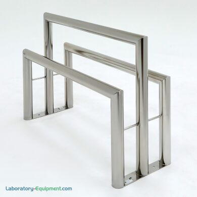 """Double sided cleanroom lean rail for gowning; 304 stainless steel, 3"""" diameter cylindrical tube; 24""""H and 36""""H 