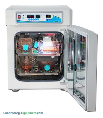 H3565 SureTherm Incubator provides precise temperature and CO2 control with 6 sided heating distribution system and low speed internal fan