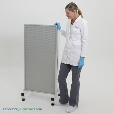 Front side of horizontal HEPA filtration system; 1 FFUs mounted on a base stand