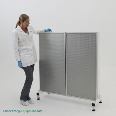 Front side of horizontal laminar flow module; 2 HEPA fan filter units mounted on a base stand