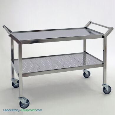 Electropolished stainless steel cleanroom cart with shelves for quality control lab; continuous seam welds, polyurethane wheels | 9609-03 displayed