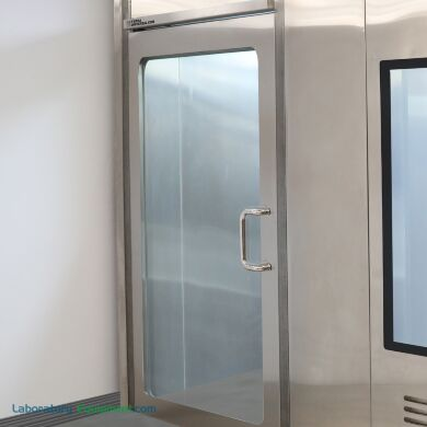 Stainless steel left hand reverse manual cleanroom door with a full view window | 6602-78-L displayed