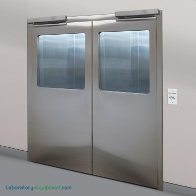 Stainless steel double doors with automatic door openers and partial view flush mount windows | 1999-94 displayed