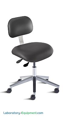 Biofit black desk chair includes seat and backrest that tilt independently with separate levers, chrome-plated metal parts, and large high-profile aluminum base