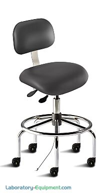 Biofit black desk chair includes tubular steel base, large trapezoid backrest, saddle-shaped seat, footring, and dual-wheel casters for ESD applications