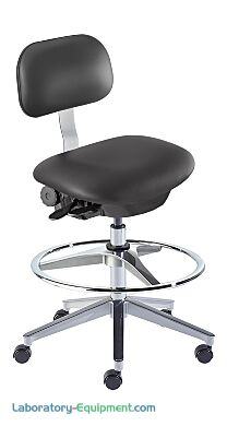 """Biofit ISO4 black high bench chair includes high profile cast aluminum base, dual-wheel casters and 22"""" diameter footring with adjustable height"""