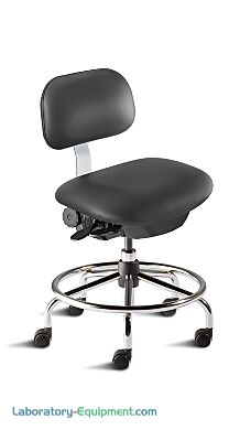 Biofit ISO4 black desk chair includes high profile tubular steel base, dual-wheel casters, footring and concave seat with internal seat board bumperguard