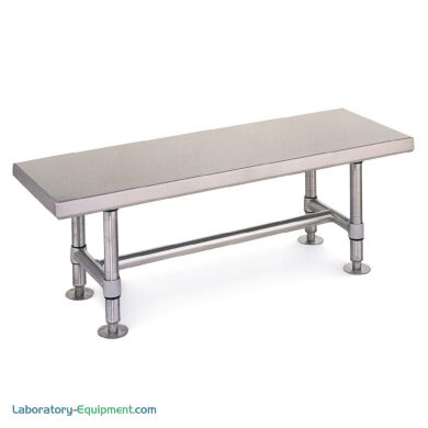 Stainless steel gowning benches by Intermetro features heavy duty solid tops for ideal use in busy cleanrooms