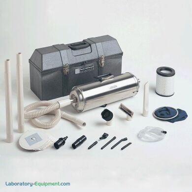 Made of stainless steel, the hand-held UPLA-filtered Micro-Vac vacuum is clean and lightweight. A complete attachment kit is included   5100-00 displayed