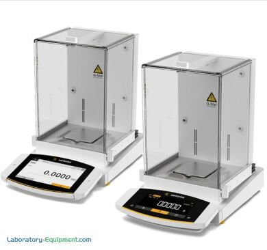 Semi-Micro Balances shown with MCA and MCE control units draft shield and a built-in ionizer on select models; capacity of 120g and 220g