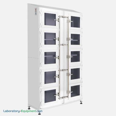 Ten-chamber storage cabinet with powder-coated steel construction, adjustable shelves, and door-in-door features   1990-38A displayed