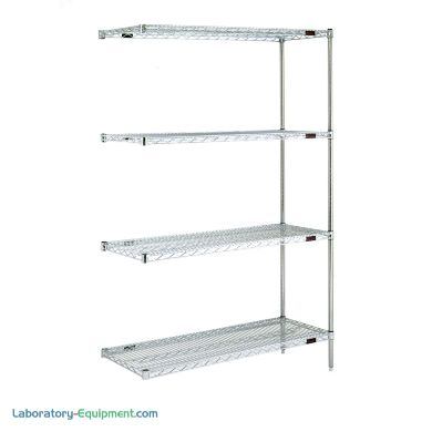 Complete 4-shelf add-on system by Eagle Group with adjustable open-wire shelves easily attaches to existing shelving system; available in low cost chrome-plated
