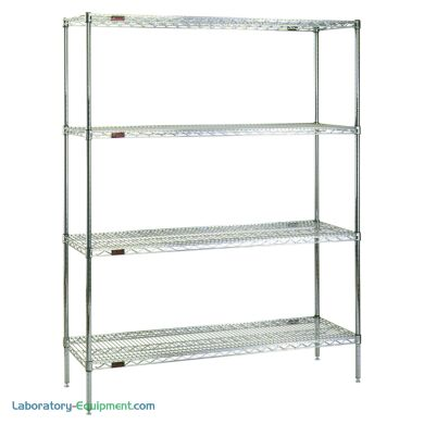 Complete 4-shelf system by Eagle Group with adjustable open-wire shelves is available in low cost chrome-plated steel or corrosion resistant stainless steel