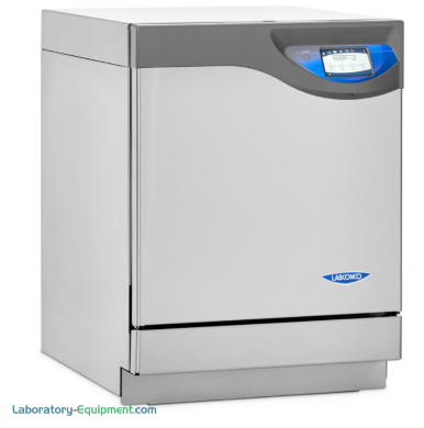 FlaskScrubber models for narrow-neck and Erlenmeyer flasks heat up to 199° F (93° C) and includes a SS lower rack with 36 spindles and 18 glassware holders
