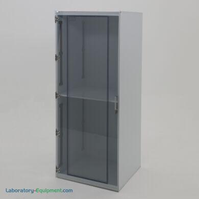 "Freestanding cleanroom storage cabinet, 25""W x 24""D x 60""H, polypropylene, two chambers, static-dissipative PVC door, locking bracket | 4103-02 displayed"