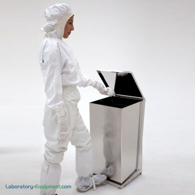 24-Gallon stainless steel BioSafe waste receptacle with a hands free foot pedal. | 1456-18B displayed