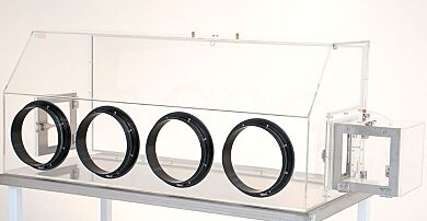 Twin Polycarbonate Airlock Series 100 Glovebox Shown with optional airlock and RB valves.  |  1681-32G-RH displayed