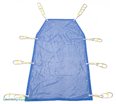 Customized on demand patient lift slings compatible with GoLift patient handling systems; polyester and mesh slings in S-XL sizes