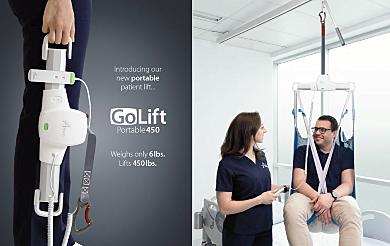 Handheld 6-lb. GoLift Patient Lift model with a 450 lb. capacity