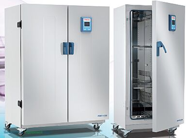 Heratherm Large Capacity Microbiological Incubators by Thermo Fisher Scientific in volume capacities of 13.3 and 27.3 cu. ft. | 5324-PP-01 displayed