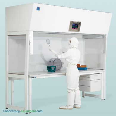 Shown: Vertical Laminar Flow Hood with optional motorized shield and workstation | 2001-80C displayed