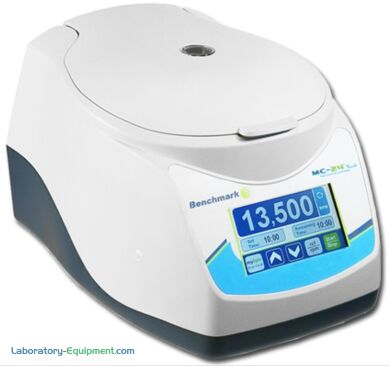 Cold-room safe Benchmark Scientific MC-24 Touch Microcentrifuge features a large full color touchscreen that displays speeds in rpm and rcf   2829-PP-15 displayed