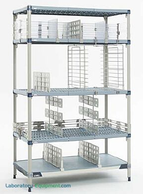 MetroMax Q Shelving Systems with open grid shelves and epoxy coated steel posts provide antimicrobial product protection