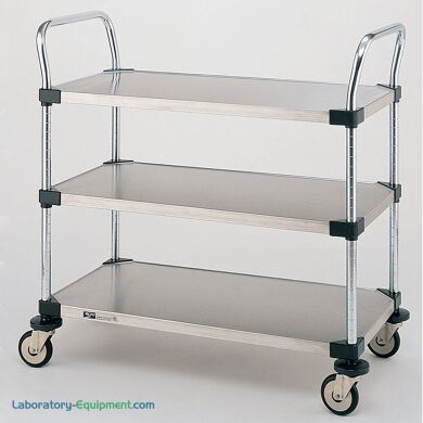 Stainless steel and Chrome Plated Utility Carts by InterMetro includes three solid steel shelves, handles and four casters   1401-45 displayed