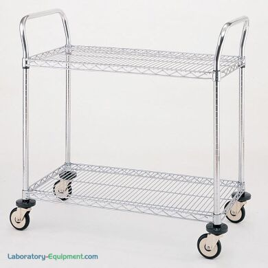 Stainless steel and Chrome Plated Utility Carts by InterMetro includes two sire steel shelves, handles and four casters | 1402-38 displayed