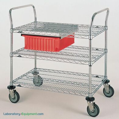 Stainless steel and Chrome Plated Utility Carts by InterMetro includes three wire steel shelves, handles and four casters     1402-62 displayed