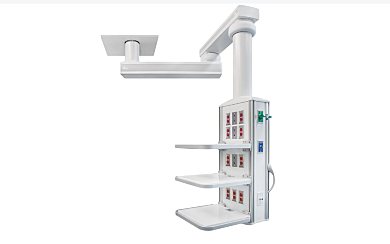 Surgical Room equipment boom with a 340º rotation, customizable console, 1000 mm-1000 mm arms, power supply and medical gas assembly (CO2, N2 or vacuum with hol
