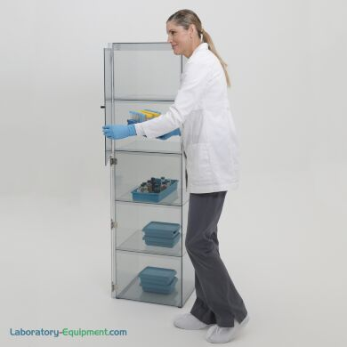 Plastic cleanroom storage cabinet with 5 chambers, 2 doors; ESD-safe design features static-dissipative PVC and grounding tape to door hinges | 3948-10 displayed