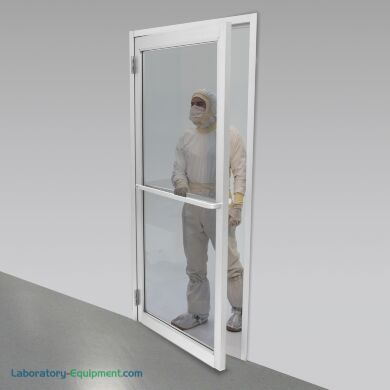 Powder coated aluminum-framed cleanroom lab door, complete with door frame | 6710-90-L-PC displayed