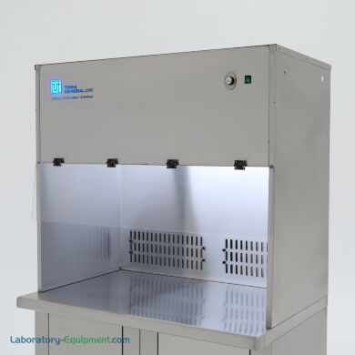 """Stainless steel recirculating vertical laminar flow hood with adjustable rear vents; 48""""w, mounted on a base cabinet (sold separately)     1688-91B-48-SS-R displayed"""