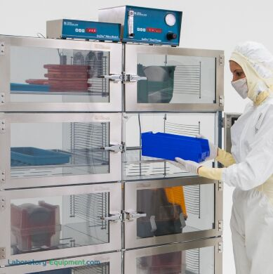 IsoDry nitrogen desiccator cabinets provide unsurpassed humidity uniformity; acrylic lends strength and visiblity of stored parts. Shown with optional controlle | 3950-36F-ISO displayed