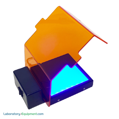 SmartBlue™ Mini transilluminator uses blue light for gel viewing with a uniformly lit viewing surface and detachable amber cover
