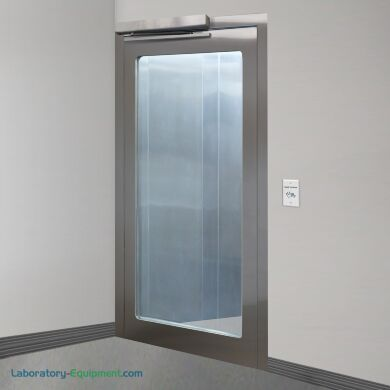 Left hand reverse stainless steel door with full view tempered glass window and automatic opening sensor   1999-96-L displayed