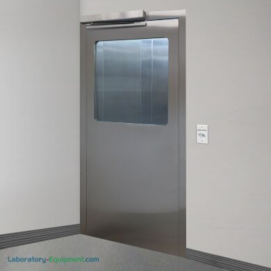 Left hand reverse stainless steel door with full view tempered glass window   1999-87A-L displayed